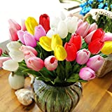 Mother's Day, StillCool® 12pc/set Pu Stunning Holland Mini Tulip Flower Real Touch Wedding Flower Artificial Flowers Silk Plants for Party Room Home Hotel Event Christmas Gift Decoration (Multi )