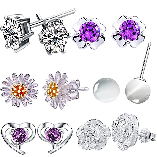 12-pieces-small-cute-simple-post-stud-earrings-set-for-girls-kids-silver-tone-mix-and-match