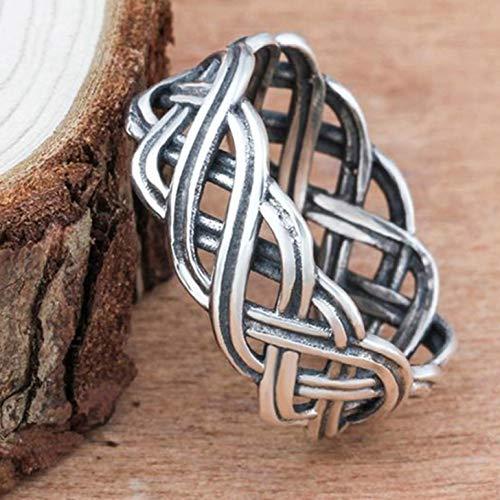 Xinleijd Superb Unendlichkeit Verflochte Kreuz Celtic Knot Ring Women Verlobung Hochzeitsband Viking Schmuck Ringe(None 7 CR 6161 Retro Silver 7)