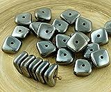 20pcs Metallic Dunkel Silber mit Hämatit, Flach Gewellten Quadrat-Chip Waschmaschine Tschechische Glas-Perlen 10mm x 4mm