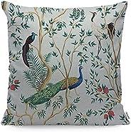 غطاء وسادة من وزوكيا بتصميم طيور الطاووس وازهار الفاونيا باللون الازرق، نمط تجريدي بتصميم صيني من القطن والكتا