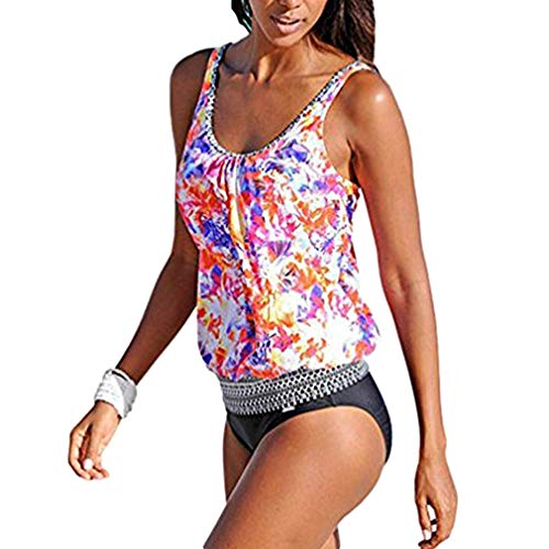 AidShunn Damen Blumen Print Ruched Tankini Badeanzug mit Dreieck Unterhosen - M -