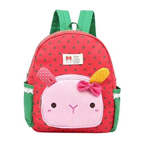 Trada Baby Backpack, Kinder Baby Mädchen Jungen Kinder Cartoon Kaninchen Tier Rucksack Kleinkind Schultasche Babyrucksack Schultasche Tagesrucksack für Mädchen Jungen (Wassermelonenrot)