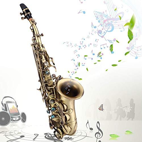 Nannday B Flat Saxophon, Musikinstrument Antique Bronze Style Sopransaxophon Sax mit Handschuhen Strap Reed Fett Carekit Aufbewahrungskoffer für Studenten