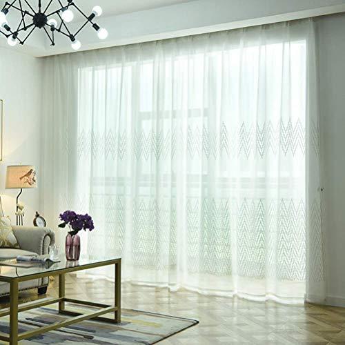 Lino voile tenda finestra a piega doppia a piega singola due pannelli trattamento finestra modern, jacquard a quadri a occhiello semitrasparente,100 * 270/2
