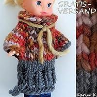 Puppenkleid/ Tunika / langer Pullover in einem wunderschönen Dunkelorange mit Ocker und Grau für ein schlankes Puppenkind von 25 cm Größe / Größe 25/ gestrickt