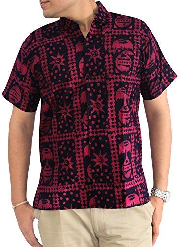 LA LEELA Strand Hawaiihemd Herren XS - 5XL Kurzarm Front-Tasche Hawaii-Print Casual Button Down Hemd Rosa Rosa