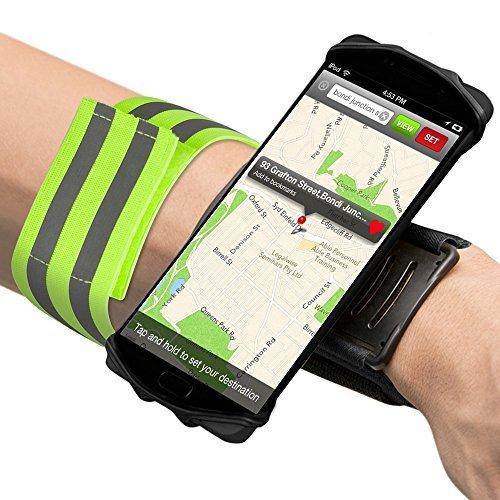 Senhai Sport Unterarm Armband und reflektierendes Armband, 180 Grad drehbare Workout Band Handyhalter für Laufen Radfahren Gym Joggen Wandern Walking - Schwarz