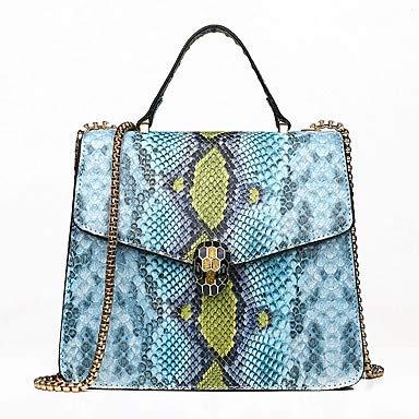 Womens Buttons/Chain Tote PU (Polyurethan) Geometrisches Muster Grün/Schwarz/Blushing Pink/Snakeskin/Fall & Winter, Blau -