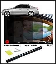 Lámina de tintado opaca para luna de vehículo (76 x 300cm), color negro