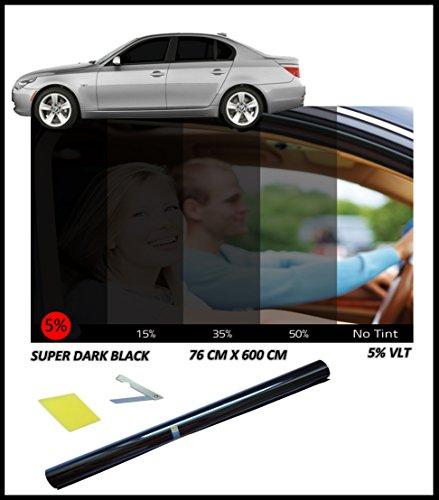 Tönungsfolie für Auto-Fenster, sehr dunkel, 5%, 76cm x 3m (Auto-fenster-folie 5)