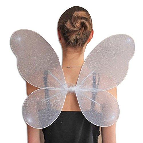 Glitter Kostüm Fairy - Islander Fashions Frauen Net Fairy Wings mit Silber Glitter M�dchen Kost�m Kost�m Zubeh�r White One Size