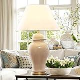 WYQmm Amerikanischen Stil Wohnzimmer Keramik Tischlampe Chinesisch neo-klassischen Modell Zimmer Schlafzimmer Nachttisch Lampe einfache moderne Lampe Tischlampe (Farbe : Beige-Special trumpet)
