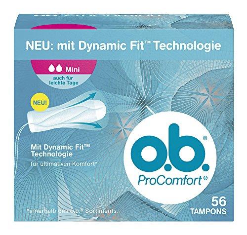 O.b. ProComfort Mini Tampons, mit Dynamic Fit Technologie und SilkTouch Oberfläche, für ultimativen Komfort innerhalb des O.b. Sortiments und zuverlässigen Schutz, 1er Pack (1 x 56 Stück)