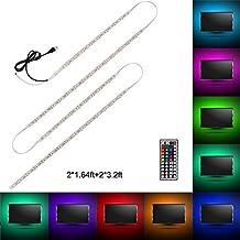 Minger USB Tira LED Luz 2*1.64ft+2*3.2ft 5050 RGB TV ambiente de iluminación +Mini Mando Control Remoto de 44 Botones