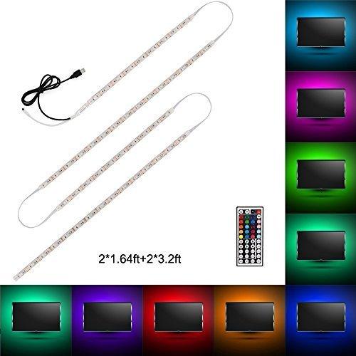 Minger USB LED Band RGB 2 x 1.64ft und 2 x 3.28ft Farbwechsel TV Hintergrund Beleuchtung LED Lichtleiste 5050 SMD LED Lichtband mit DC 5V USB Anschluss und 44 Tasten IR Fernbedienung [Energieklasse A+]