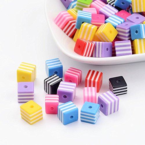 Lot de 200 Mixtes Perles Cubes Carrees Rayure en Resine Couleurs Melangees 8x8x8mm
