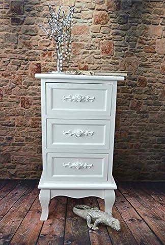Livitat® Nachttisch Nachtschrank Nachtkonsole Nachtkommode Weiß barock LV4012