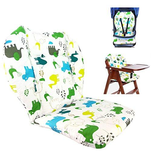 Cojín para silla de bebé alta, cojín para asiento de bebé/cojín de silla alta, lindo cojín con patrón de elefante, suave de doble cara cojín transpirable (elefante)