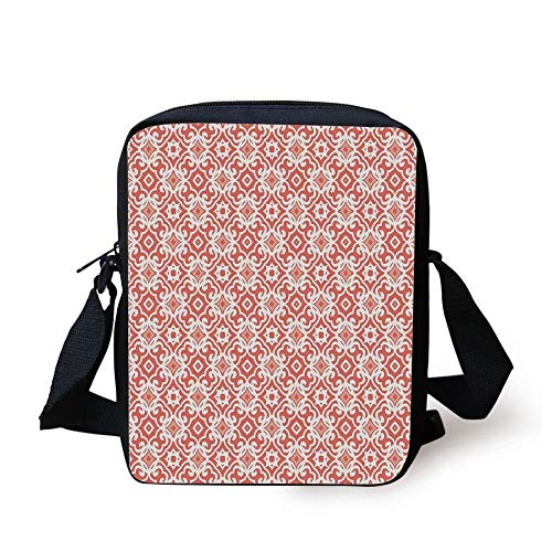 Coral,Geometric Art Deco Pattern with Lacing Shapes 30s Style Vintage Motifs,Coral Light Coral White Print Kids Crossbody Messenger Bag Purse Bowling-art-deco