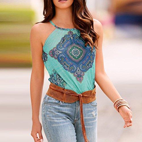 Mujer Blusa verano,Sonnena ❤️ ❤️ sexy off hombro blusa con tirantes Patrón de nacional estilo estampado sin manga casual moda traje de verano fresco (L, AZUL)
