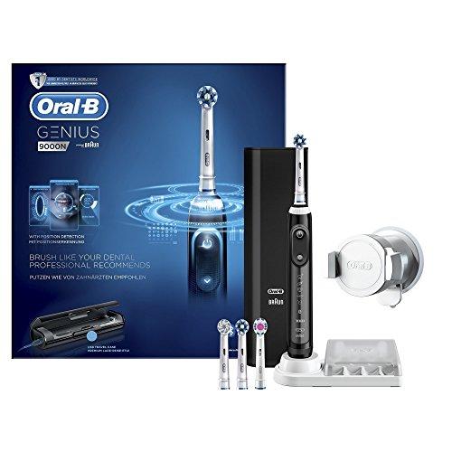 Oral-B Genius 9000N - Cepillo de dientes eléctrico, 6 modos, Bluetooth, 4 cabezales, estuche con USB, color negro width=