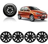 #4: Auto Pearl - Premium Quality Car Black Wheel Cover Caps 13 Inches Press Type Fitting For - Tata Indica V2