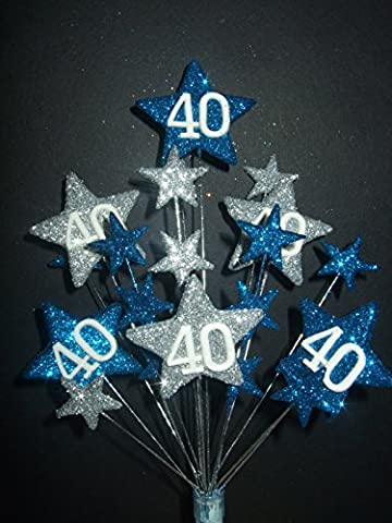 STAR AGE 40TH BIRTHDAY CAKE TOPPER DECORATION IN LASER AND SILVER