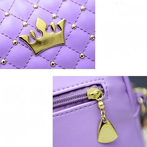 hibote 2016 Frauen Bag Mode Frauen Bote Bags Rivet Chain Schultertasche Gute Qualität PU Leather KreuzKörper Quiled Crown Bags Lila