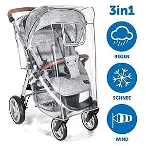 Habillage pluie confort universel pour tous types de poussettes, poussettes cannes ou poussettes 3 roues | bonne circulation de l'air, fenêtre de contact, montage facile, sans PVC.