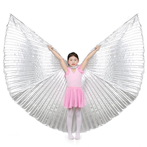Kostüme Neueste Kinder (Dance Fairy Kinder Bauchtanz Isis Flügel,Silber (mit)