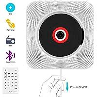 CD Player,VIFLYKOO Bluetooth an der Wand montierbaren tragbaren SD-Musik-Player mit HiFi Lautsprecher FM Radio MP3 Eingang Fernbedienung 3,5mm Aux Buchse für Kinder Studenten und Ältester -Weiß