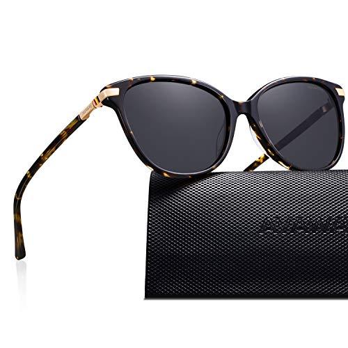 AVAWAY Retro Polarisierte Damen Sonnenbrille UV400 Schutz Brille, Acetat Rahmen, A2