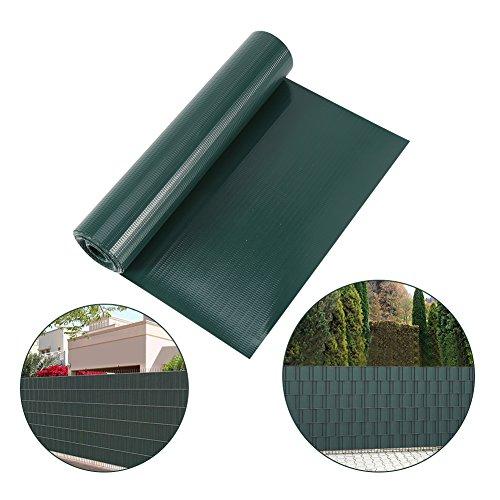 GOTOTOP 35M PVC Sichtschutzfolie Gartenzaun Folie, Windschutz-Folie Sichtschutzstreifen Zaun Folie, mit 10 Befestigungsklammern für Drahtzaun und Garten (Grün)