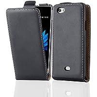 Cadorabo – Funda Flip Style para Sony Xperia MIRO (ST23i) de Cuero Sintético Liso – Etui Case Cover Carcasa Caja Protección en NEGRO-DE-CAVIAR