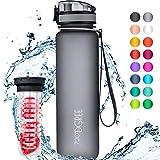 """720°DGREE Trinkflasche """"uberBottle"""" - 1 Liter, 1000ml, Grau - Neuartige Tritan Wasser-Flasche - Water Bottle BPA Frei - Ideale Sportflasche für Kinder, Fitness, Fahrrad, Sport, Fussball"""