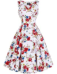 f796731ba0b3 Hearts and Roses London White Floral Watercolour Vintage Retro 1950s Summer  Sun Tea Dress
