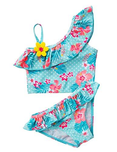 Pretty Princess Mädchen Bademode Badeanzug Neoprenanzug Zweiteilige Anzüge Blau mit Blumen Bikinis Sets Baby Mädchen Schwimmen Cosutmes