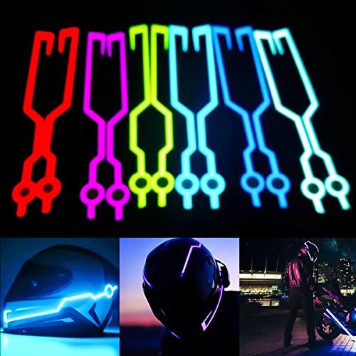 Motorradhelm EL Kaltlicht Aufkleber Kit Night Riding Signal Blinklichter Strip Bar (Color : Red) - 3 Bar Kit