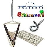 Amazonas Kangoo Babyhängematte mit Inlay Sunny Cacao, Schlummerli-Feder und Deckenhaken