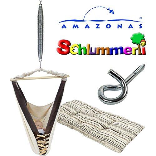 *Amazonas Kangoo Babyhängematte mit Inlay Sunny Cacao, Schlummerli-Feder und Deckenhaken*