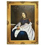 Riesiges Handgemaltes Barock Öl Gemälde Mademoiselle Gold Prunk Rahmen 220 x 160 x 10 cm - Massives Material