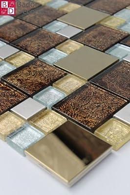 1 Matte Glasmosaik Mosaikfliesen Glas Edelstahl Gold Braun Getönten Schwarz neu von Bador auf TapetenShop