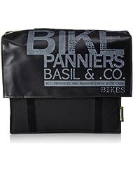 Basil - Bolso lateral doble para bicicletas, 39 x 18 x 33 cm, color negro