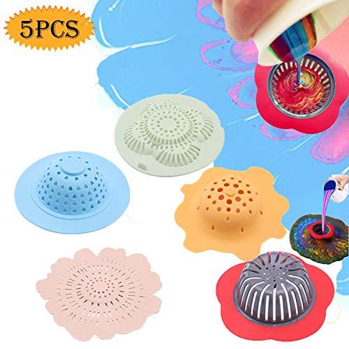 Bluesees Acryl-Ausgießsieb, 5 Stück, Malwerkzeug-Kits, Zeichensets, Blumensiebe, Kunststoff, Silikon, Abflusskorb zum Ausgießen von Acrylfarbe, auch als Spüle Wasserfilter/Abfluss für die Küche -