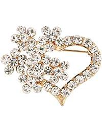 f5b5586a08b3 Xuxuou 1 Unids Mujer Elegante Único Diamante-Tachonado Amor Broche Banquet  Party Boda Nupcial Broche Bufandas Chal Clip para Joyería de Las…