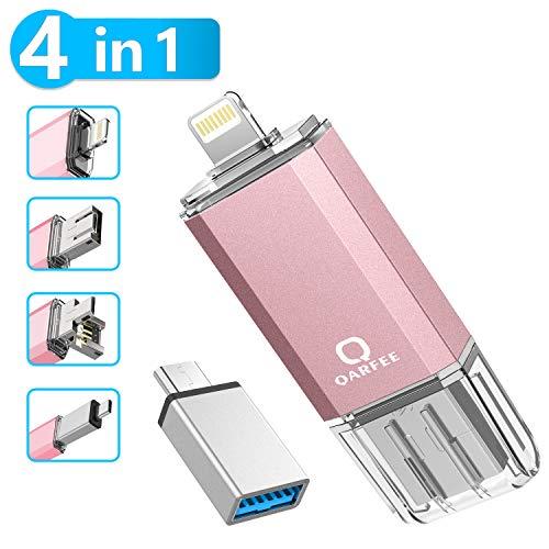 Qarfee USB Stick 32GB Für Handy Tablet und PC USB 3.0 Flash Laufwerk kompatibel mit iPhone iPad/USB/Micro USB/Type C Anschluss Pink -
