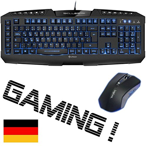 Combusters - Gaming Maus + Tastatur blau beleuchtet - Desktop Deskset Kabel verkabelt Keyboard Mouse Set Pc Computer Spiele Zocker Spiele Gamer Game Qwertz deutsche Deutsch wired
