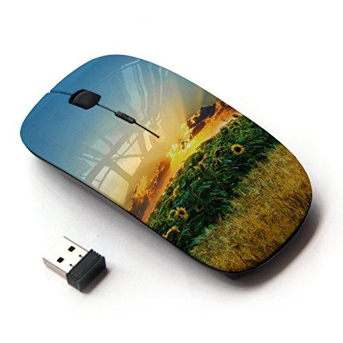 [Peculiar-Star] Colorato stampato ultrasottile ottico senza fili 2.4Ghz mouse-Black [Natura