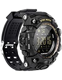 EX16 Rugged Camoflage Sports Smartwatches Bluetooth Watch with Pedometer Steps Caloires Counter/Stopwatch /Alarms / 50M Waterproof for Running Walking Hiking Compare with iOS&Android Phone (Black)